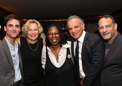 From (L) to (R): Quinn Tivey; Ambassador Deborah L. Birx, M.D., U.S. Global AIDS Coordinator and Special Representative for Global Health Diplomacy; Whoopi Goldberg; Luiz Loures, Deputy Executive Director UNAIDS, and Joel Goldman, Managing Director of The Elizabeth Taylor AIDS Foundation. Photo credit: Paul Zimmerman/Getty Images for The Elizabeth Taylor AIDS Foundation