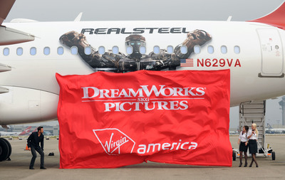 "Virgin America Unveils Customized ""Real Steel"" Aircraft at LAX, alongside the DreamWorks Pictures' Star - Hugh Jackman.  (PRNewsFoto/Virgin America, Bob Riha, Jr.)"