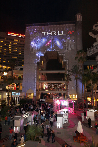 3D projection transforms Hollywood & Highland at LG Thrill 4G 3D Gaming Event.  (PRNewsFoto/LG Mobile, Casey Rodgers / AP Images)