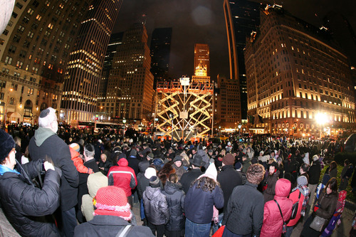 World's Largest Chanukah Menorah by the Chabad Lubavitch Youth Organization at Fifth Avenue and 59 Street ...