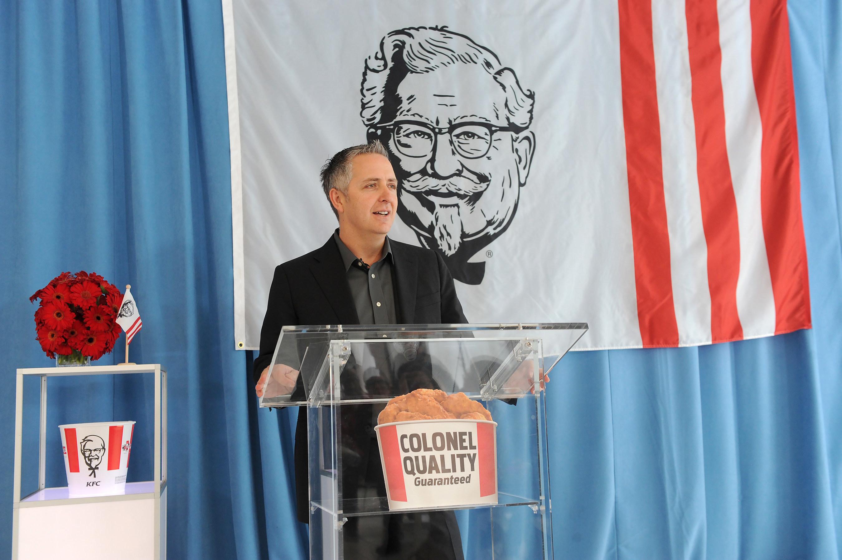 Jason Marker, KFC U.S. President, announces Re-Colonelization at the KFC event on Monday, April 4, 2016 in New York City. (Diane Bondareff/AP Images for KFC)