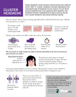 "Cluster headache, which has been nicknamed by some sufferers as the ""killer"" or ""suicide"" headache, has been described as the most painful type of headache one can endure."