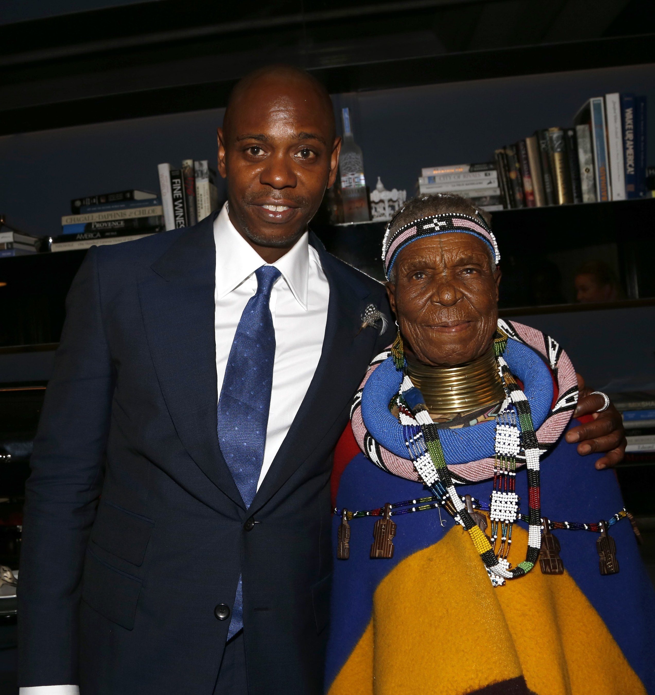 Dave Chappelle and Belvedere (RED) artist Esther Mahlangu at the National Museum of African American History and Culture After Party with Moët Hennessy