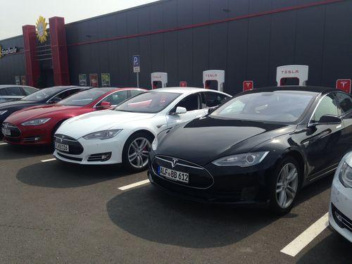 Supercharger Opening at the 24 Autohof Neuberg. (PRNewsFoto/Tesla Motors)