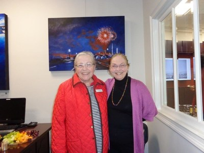 left: Emily Ferren, retired Director of Libraries and Member of Board of Directors for Charles County Arts Alliance. Right: Gale Kladitis, Charles County Arts Alliance Vice President and Gallery Chair.