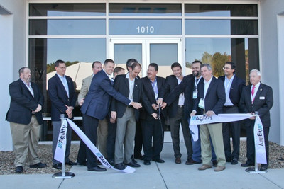 Agility executives, Board of Director members and company founders cut the ribbon that officially opens the new Salisbury, North Carolina facility