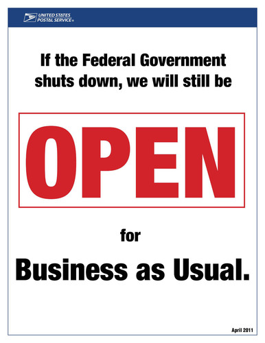 A self-supporting government enterprise, the Postal Service will be open for Business as Usual in the event of a government shutdown.  (PRNewsFoto/U.S. Postal Service)