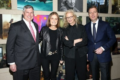 WOMEN: New Portraits by Annie Leibovitz, commissioned by UBS. The Presidio's Crissy Field (649 Old Mason Street, San Francisco). 25 March - 17 April. Pictured: Tom Naratil, President Wealth Management Americas and President, UBS Americas, Gloria Steinem, Annie Leibovitz and Johan Jervøe, Chief Marketing Officer, UBS