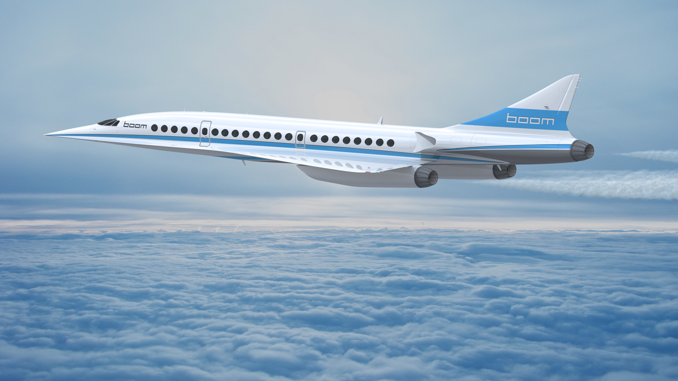 Boom supersonic plane in flight.