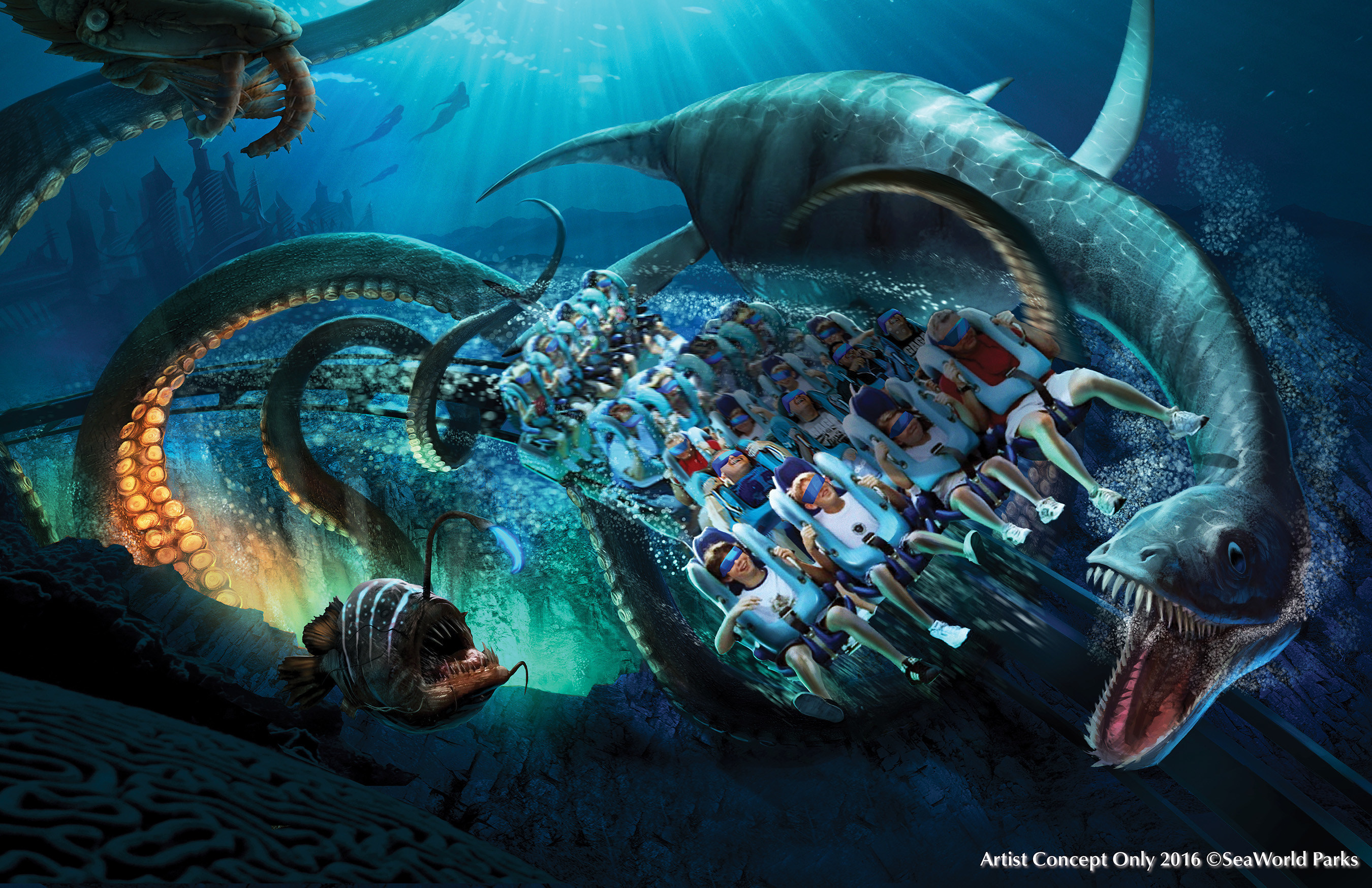 """Kraken(R) Virtual Reality (VR) roller coaster, coming to SeaWorld Orlando 2017. The park's popular Kraken roller coaster will be transformed into a """"deep sea"""" virtual reality coaster experience, the only VR coaster experience in Florida - taking riders on a mission alongside sea creatures inspired by extinct and legendary animals of the past.  A custom digital overlay with uniquely designed headsets, fully integrated both mechanically and electronically into the coaster train, delivers a new one-of-a-kind adventure.  Credit: Artist Concept Only - 2016 (C)SeaWorld Parks"""