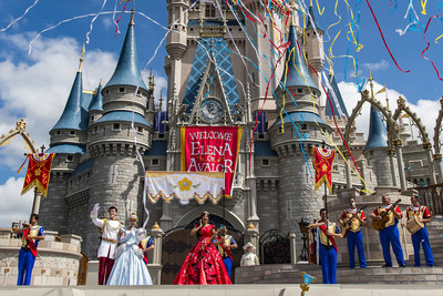 """Princess Elena of Avalor, the first Latin-inspired Disney princess, receives a royal welcome on Aug. 11, 2016 during her arrival at Magic Kingdom Park in Lake Buena Vista, Fla. Princess Elena's arrival at Walt Disney World follows the debut of the new Disney Channel animated series, """"Elena of Avalor."""" The adventurous princess appears daily in """"The Royal Welcome of Princess Elena"""" stage show at Magic Kingdom. (Matt Stroshane, photographer)"""