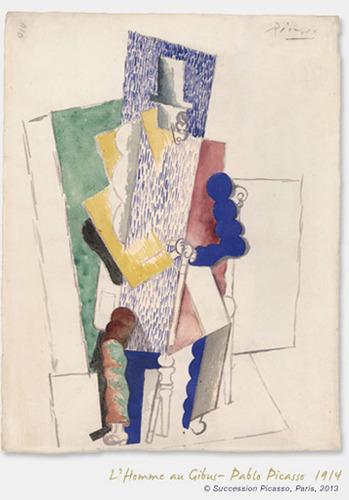 """L'Homme au Gibus"" - Pablo Picasso 1914 certified masterpiece.  (PRNewsFoto/www.1picasso100euros.com)"