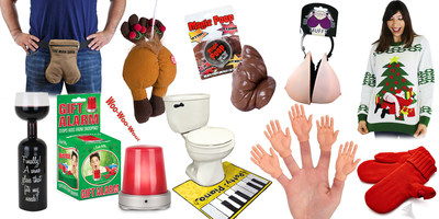 """The Top 10 Stupid Gifts of 2015, from Stupid.com Farting reindeer butt ornaments, man sacks, potty pianos and wine bottle glasses are just some of the """"stupid"""" gifts that made Stupid.com's 9th annual list of the the most ridiculous gag gifts of the year."""