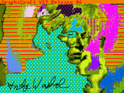 This image, signed by Warhol, was retrieved from an Amiga disk by the Carnegie Mellon University (CMU) Computer Club, with assistance from CMU's Frank-Ratchye STUDIO for Creative Inquiry.