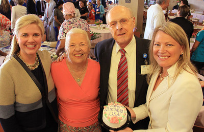 (Left to Right) The Woman's Hospital of Texas CEO Ashley McClellan celebrates the hospital's 40th anniversary with Ann Wagner, one of the first patients to deliver her baby, Lisa Woods, on opening day, Dr. Eberhard Lotze, Ms. Wagner's obstetrician and a hospital founder, and Lisa Woods.