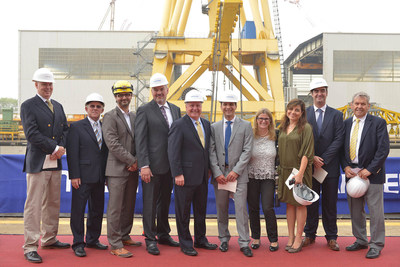 Various executives from Fincantieri and Seabourn celebrated the keel laying ceremony in Marghera, Italy on Sept. 15, 2015.