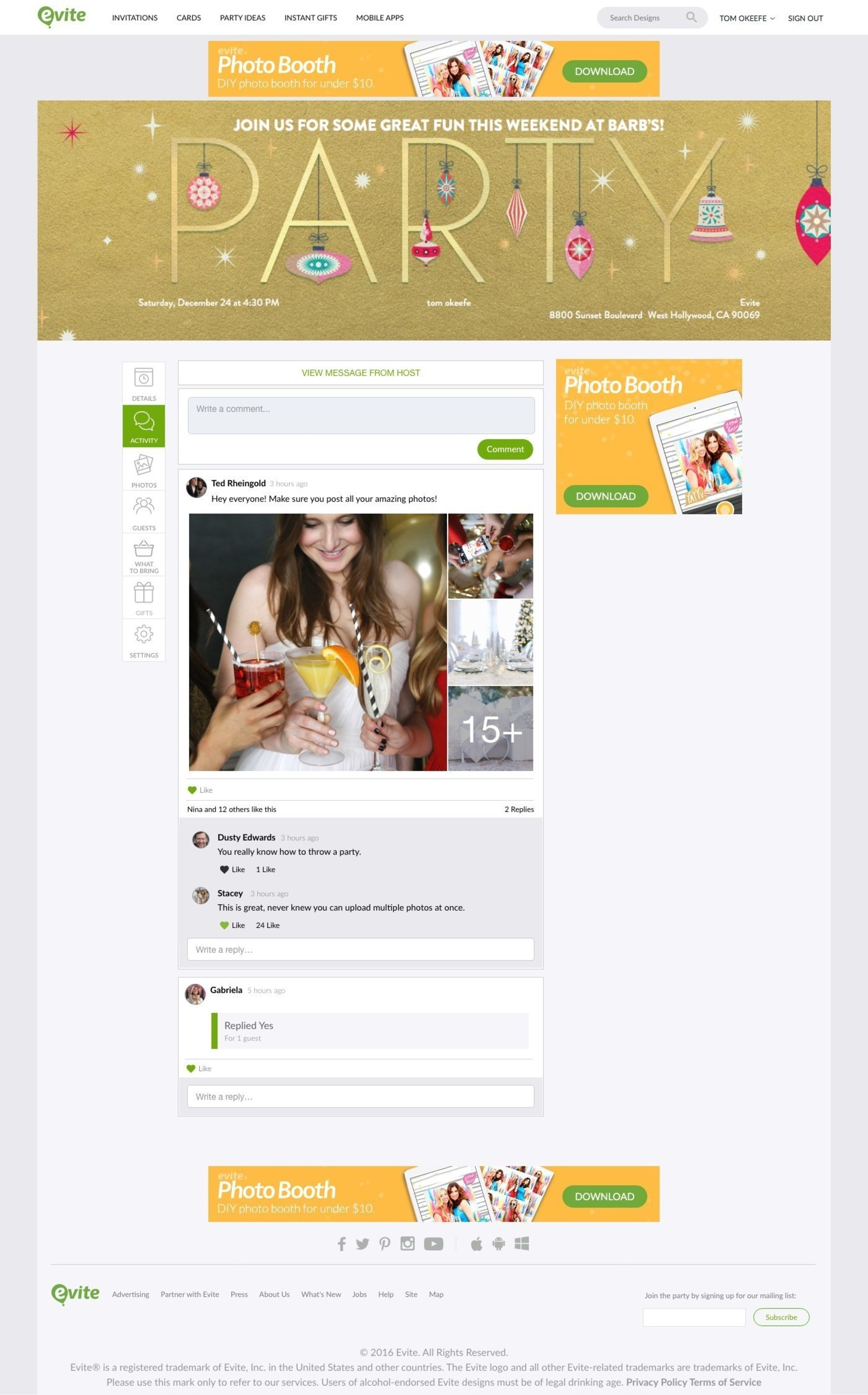 evite announces new private sharing feed with every invitation