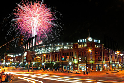 Fourth of July fireworks explode over Denver's downtown baseball stadium, Coors Field, home of the Colorado Rockies. Credit: VISIT DENVER.  (PRNewsFoto/VISIT DENVER, The Convention & Visitors Bureau)