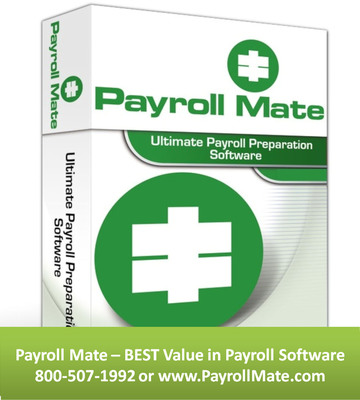 Payroll Mate (R) software helps banks, credit unions and financial institutions process payroll for their employees and clients. The highly configurable and intelligent payroll software offers easy compliance, affordable pricing and fast processing. Free trial download of Payroll Mate 2014 is available from http://payroll.realtaxtools.com/.  (PRNewsFoto/Real Business Solutions)