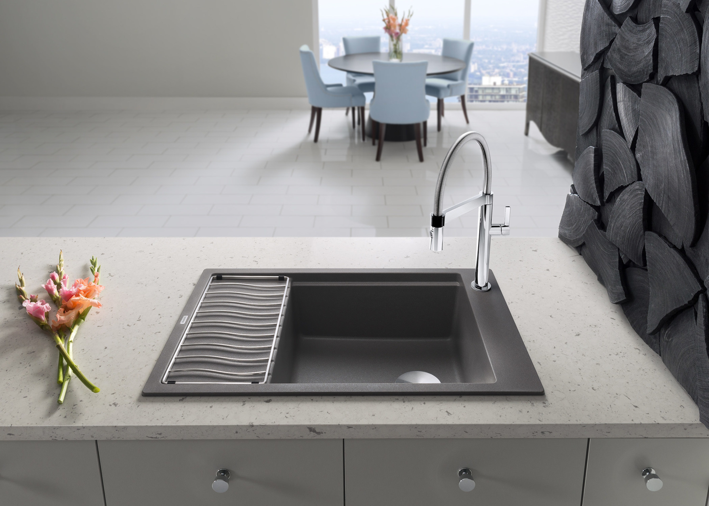 BLANCO Adds The Space Saving PRECIS™ Medium Single Sink With  Multi Functional Drainer To Patented SILGRANIT® II Collection