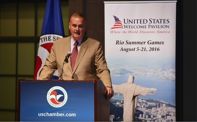 General James Jones, former United States National Security Advisor and Supreme Allied Commander Europe, urges corporate attendees to support the US Welcome Pavilion during a reception held at the U.S. Chamber of Commerce in Washington, DC.