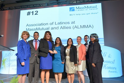 "Left to right: Linda Stokes, president and CEO, PRISM International Inc. and The Association of ERGs & Councils; Emmanuel Aguero, MassMutual ALMMA member; Sylena Echevarria, MassMutual ALMMA Chair; Angie Rios, MassMutual ALMMA vice chair; Marcela Aldaz-Matos, assistant vice president, MassMutual Diversity and Inclusion; Karen Lavariere-Sanchez, MassMutual ALMMA member; Emmanuel ""Manny"" Vera, MassMutual ALMMA member; Debbie Smith Rayford, executive director of The Association of ERGs & Councils."