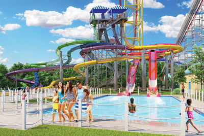Point Plummet, Starboard Surge and Portside Plunge are all part of a six-story-tall slide structure that will be the highlight of the new Cedar Point Shores Water Park.