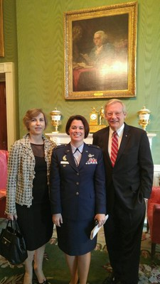 At today's White House ceremony, U.S. Air Force Col. Nicole Malachowski, Executive Director of Joining Forces, is flanked by Diana Sacchi, Human Resources VP, and John Taylor, Public Affairs VP, LG Electronics USA.