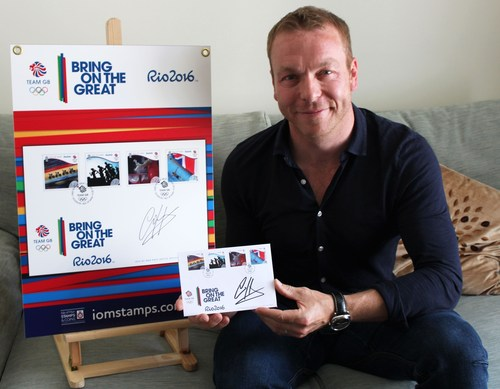 SIR CHRIS HOY MBE MAKES HIS MARK ON ISLE OF MAN POST OFFICE'S COMMEMORATIVE TEAM GB RIO 2016 COVERS (PRNewsFoto/Isle of Man Post Office)