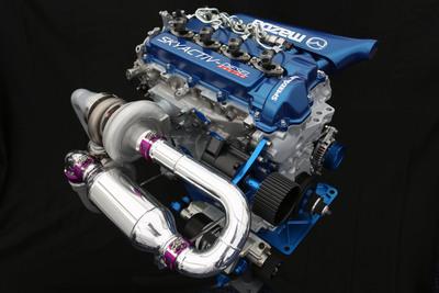 The Mazda SKYACTIV-D race engine uses a stock block Mazda production engine.  (PRNewsFoto/Mazda Motorsports)
