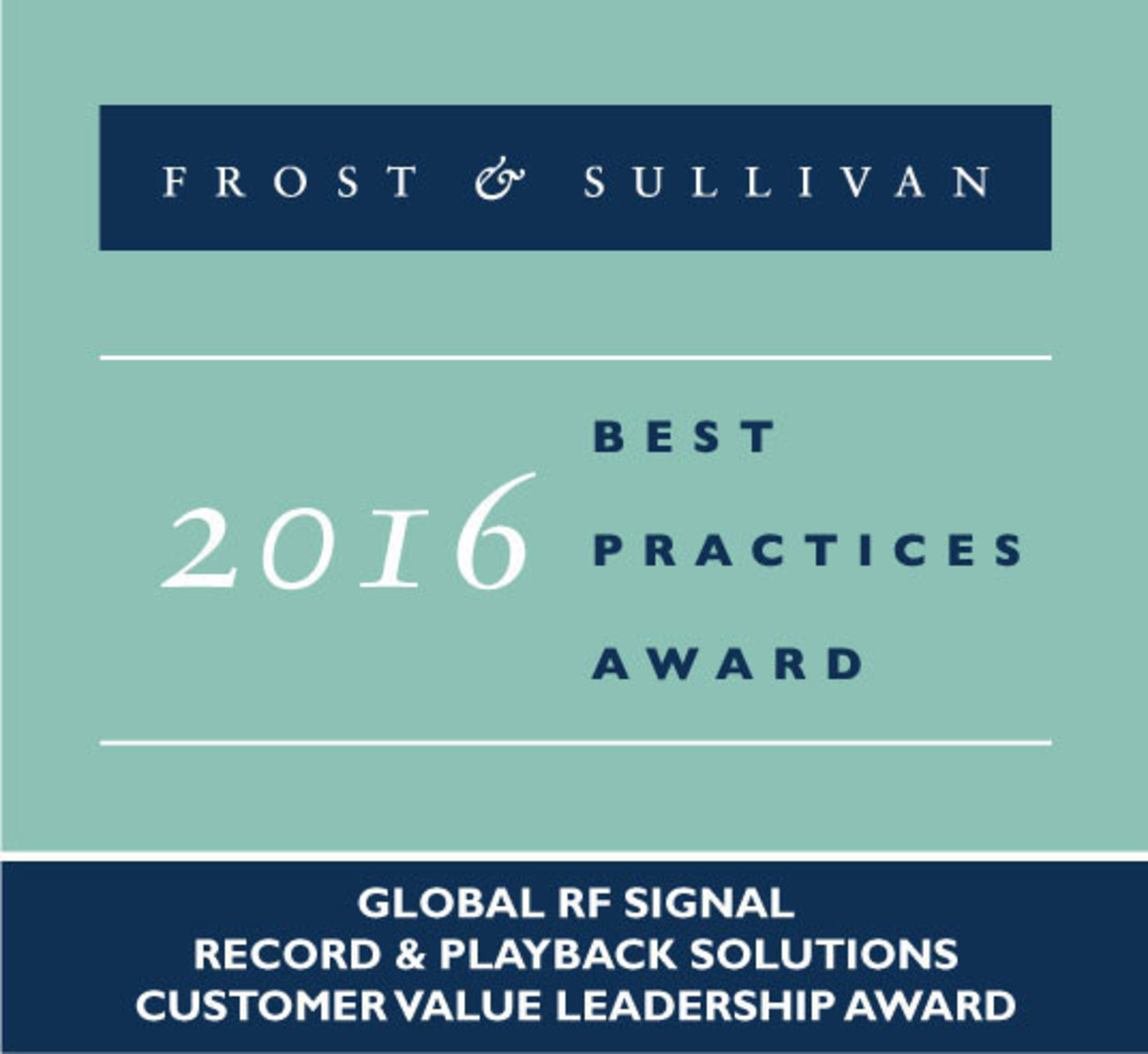 Averna Receives the 2016 Frost & Sullivan Global Leadership Award for Its RF Record and Playback Solutions