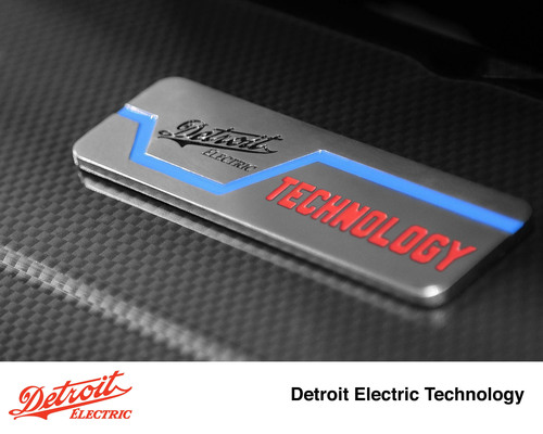 "The ""Detroit Electric Technology"" badge will be displayed on all Chinese brand Geely vehicles that will be powered by a pure electric powertrain co-developed by the two companies.  (PRNewsFoto/Detroit Electric Inc.)"