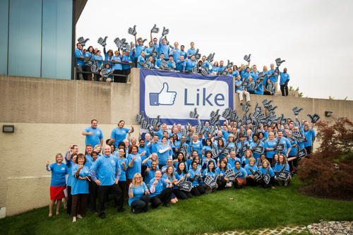 Subaru of America employees celebrate one million Facebook fan milestone.  (PRNewsFoto/Subaru of America, Inc.)