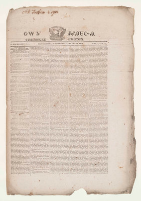 """The Cherokee Phoenix -- the first Native American newspaper -- was launched in 1828 in New Echota, Ga. Publisher Elias Boudinot, born """"Buck Deer,"""" hoped for a time when """"all the Indian tribes of America shall arise, Phoenix-like … and when the terms 'war whoop,' 'scalping knife' and the like shall become obsolete."""" Today, the Cherokee Phoenix is published monthly in print and online. Image credit: Newseum Collection (PRNewsFoto/Newseum)"""