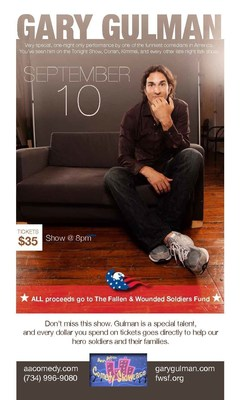 The Fallen and Wounded Soldiers Fund to Receive All Proceeds from the September 10th Ann Arbor Comedy Showcase Event Featuring Famous Funnyman Gary Gulman