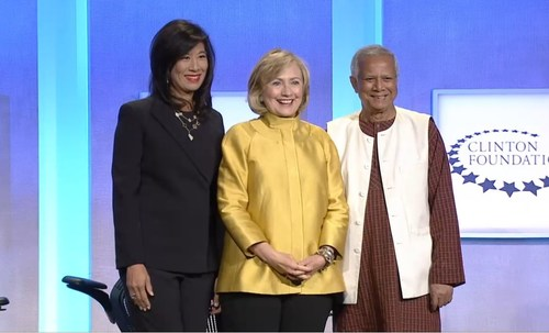 Grameen America President & CEO Andrea Jung, Secretary Hillary Rodham Clinton and Grameen America Chair ...