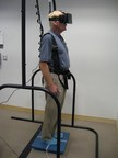 Patient being evaluated with the newly developed virtual reality-based balance assessment test at the University of California San Diego Visual Performance Laboratory.