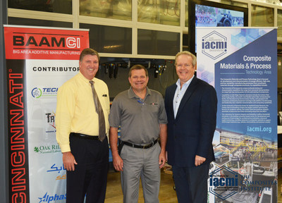 (L-R): Bryan Dods, IACMI-The Composites Institute CEO; Randy Adams, Vice President of Engineering, Cincinnati Incorporated, and Craig Blue, Director of EERE Programs at Oak Ridge National Laboratory