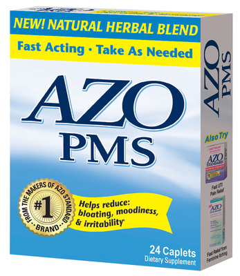 New fast-acting AZO PMS(TM) is formulated with natural botanicals, vitamins and minerals to help reduce symptoms associated with premenstrual syndrome. It is the only brand available that addresses both physical and emotional PMS symptoms.  (PRNewsFoto/Amerifit Brands)