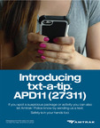 """txt-a-tip"" - Text APD11 or 27311 to reach Amtrak Police Department.  (PRNewsFoto/Amtrak Police Department)"