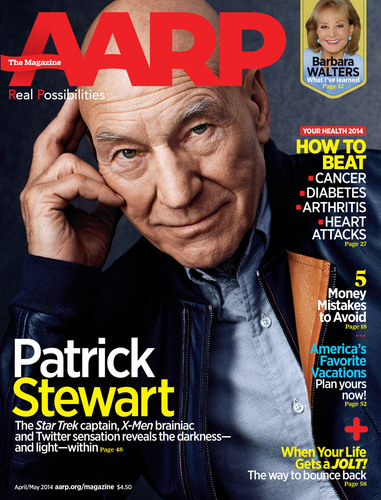 """Celebrated Actor and Activist Sir Patrick Stewart talks about Embracing his Troubled Past to find Light in the Darkness and his """"Bromance"""" with Sir Ian McKellen in the April/May Issue of AARP the Magazine.  (PRNewsFoto/AARP)"""