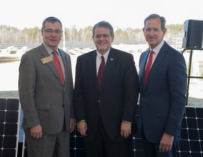 (Left to Right) UGA President Jere W. Morehead; Georgia Power Chairman, President & CEO Paul Bowers; and Georgia Public Service Commissioner Tim Echols at the dedication of a new one megawatt (MW) solar tracking demonstration project in Athens, Georgia.