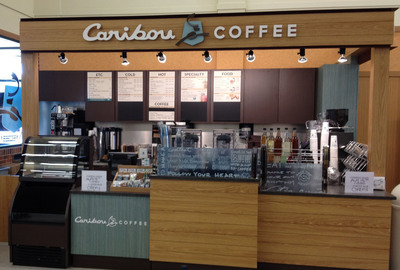 Caribou Coffee will expand its retail and commercial footprint in Chicago by introducing its signature coffeehouses and premium packaged coffee to Jewel-Osco, the city's market-leading grocery chain. Pictured is Caribou's first retail location within Jewel-Osco, which opened last week within the grocery store's Barrington location. Caribou plans to introduce seven more coffeehouses in Jewel-Osco stores by the end of 2013.  (PRNewsFoto/Caribou Coffee Company, Inc.)