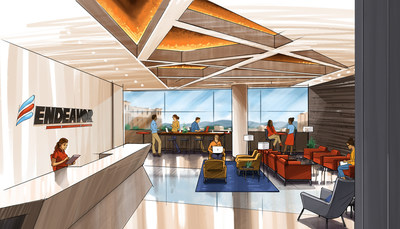 Illustrated rendering of the lobby of Endeavor, a new creative collaborative community in Greenville, South Carolina.