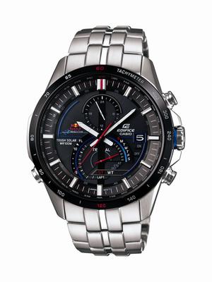 The EDIFICE EQSA500RB-1A watchface incorporates Red Bull Racing's logo and team colors.  (PRNewsFoto/Casio America, Inc.)