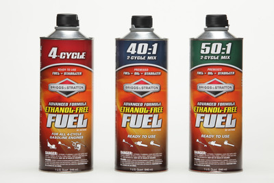 Premium ethanol-free fuel blend helps small gasoline engines run smoother, perform better.  (PRNewsFoto/Briggs & Stratton Corporation)