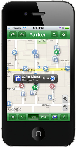 Parker guides drivers easily to available parking spaces.  (PRNewsFoto/Streetline, Inc.)