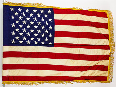 The last American combat flag used in Vietnam, now being sold.