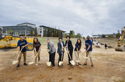 From the left to right: Flanked by UC Merced students, UC President Janet Napolitano, UC Merced Chancellor Dorothy Leland and UC Board of Regents Chair Monica Lozano break ground on the Merced 2020 Project, a $1.3 billion campus expansion on October 14th, 2016.  Credit: Elena Zhukova