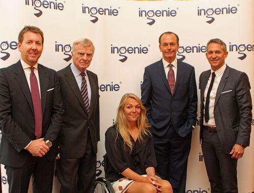 ingenie 'Insure Safer Driving' event speakers (L-R): Richard King, Max Mosley, Sophie Morgan, Quentin Willson, Gary Lineker (PRNewsFoto/PR NEWSWIRE EUROPE)
